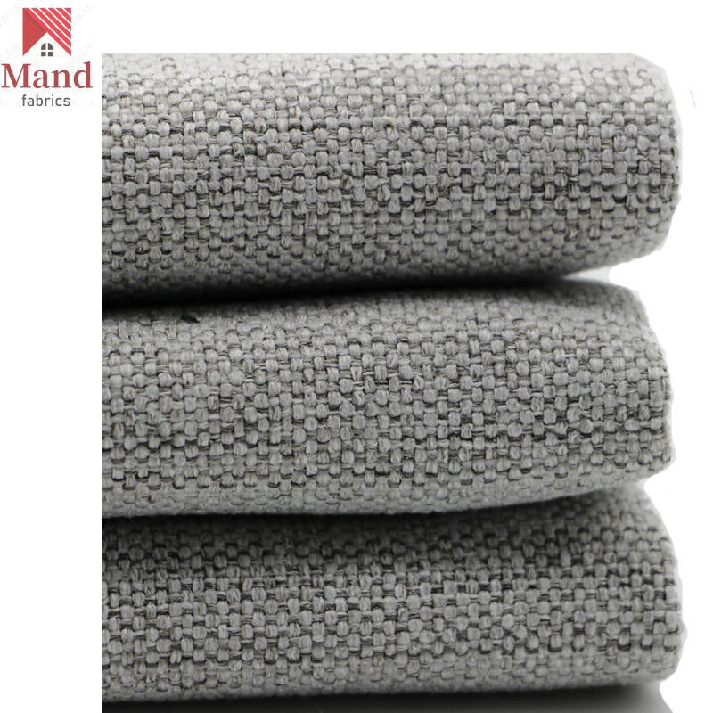 Mand textile nordic high quality polyester plain texture water resistant faux linen look commercial furniture fabric