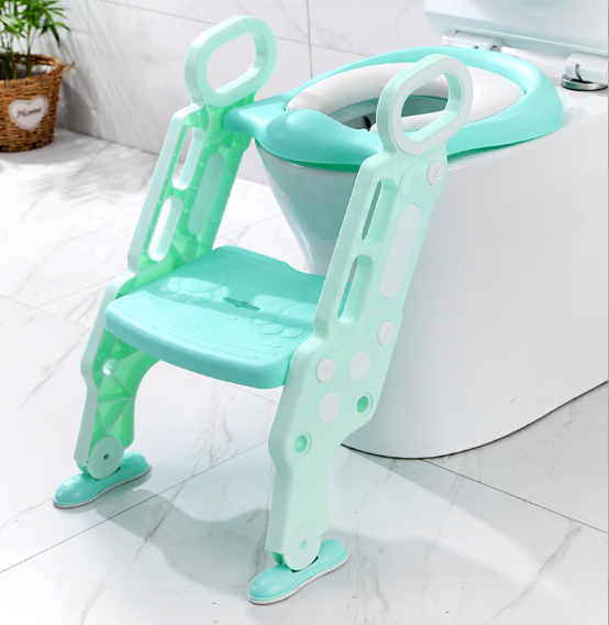 Non-Slip Wide Step Potty Training Padded Seat Toilet Seat Step Stool Ladder with Handles Toilet Training Seat