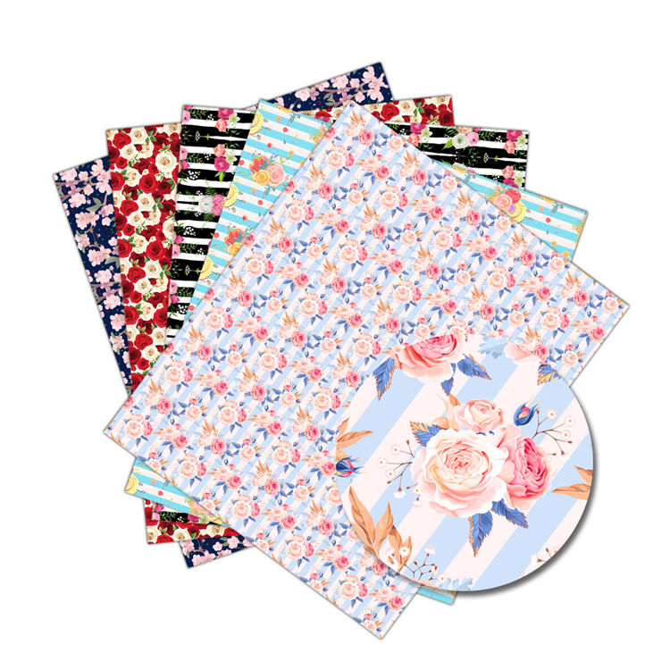 Fashion New Design Custom Pattern Print PU Character Printed Floral Faux Leather Sheets Fabric