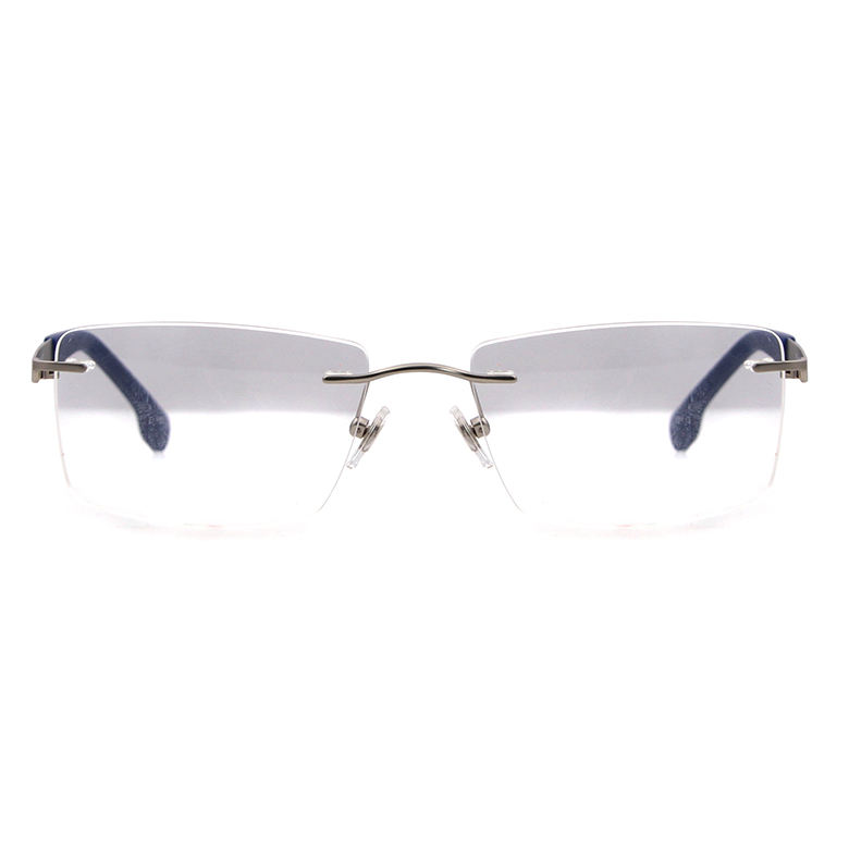 Optical Men Frames High Quality New Style Italy Design Rubber Tip Fashion OEM Men Square Metal Optical Eyeglasses Frames Rimless