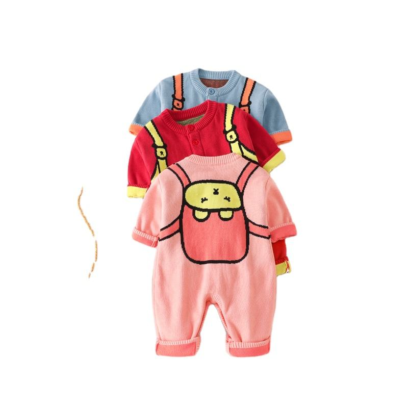 Knitted Jumpsuit Baby Cardigan Cartoon Jacquard Weave Two Pockets 3 Colors Baby Knitted Jumpsuit