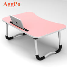 Folding Efficient Home Laptop Notebook Computer Desk, Laptop Bed Tray Table with Slot for Phone or Cups