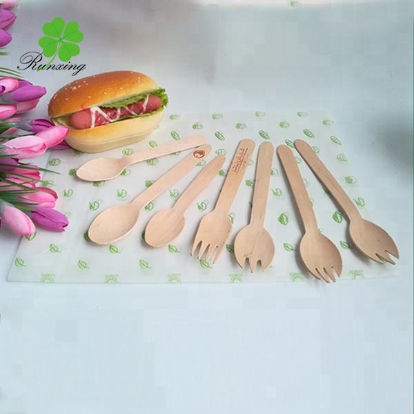 custom compostable disposable wood spoon
