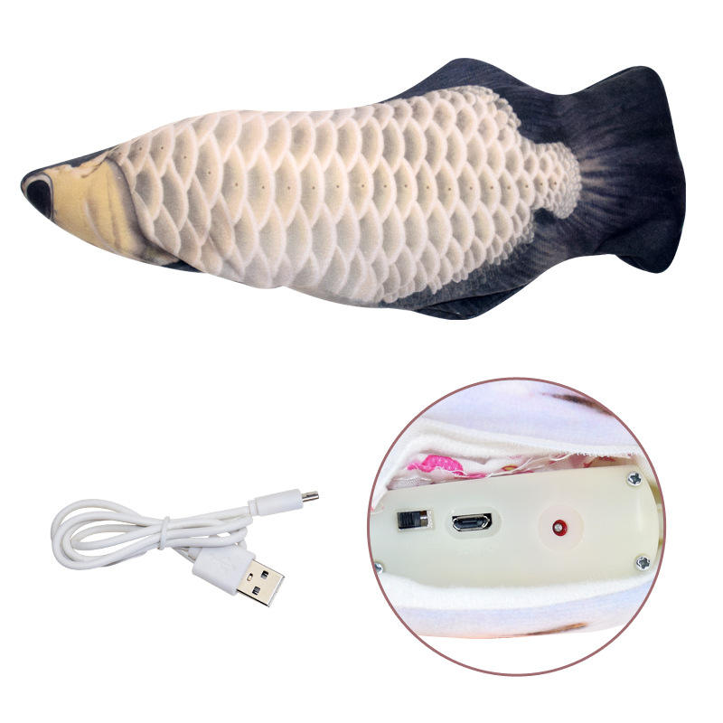 Electric Pet Soft Plush 3D Fish Shape Cat Toy Interactive Gifts Fish Catnip Toys Stuffed Pillow Doll Simulation Fish Playing Toy