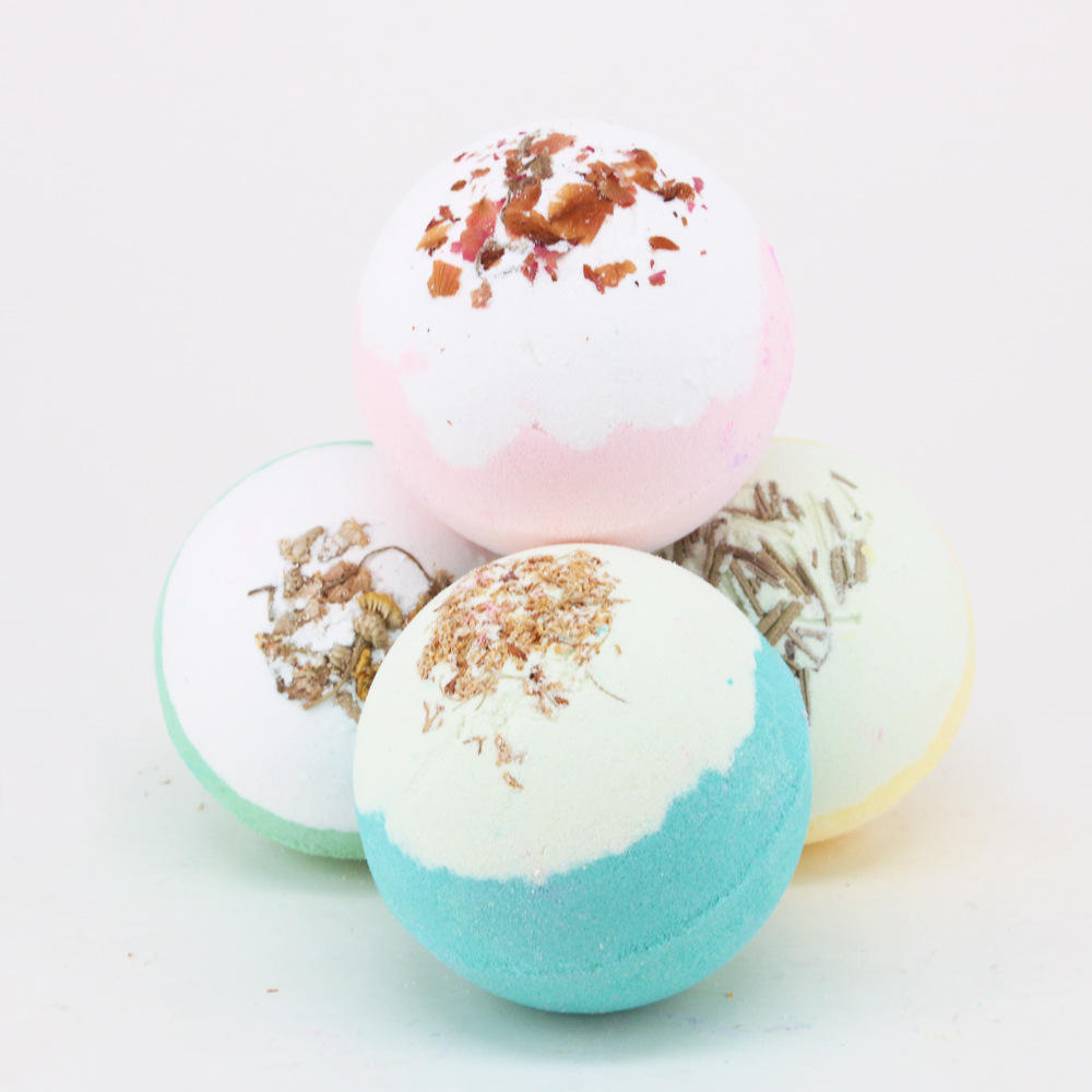 Handmade Bath Bombs Organic Natural Fragrance Skincare Sea Salt Bubble Fizzy Bathbombs Rose Essential Oil Skin Rejuvenation Soap