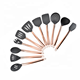 11 pieces silicone rose gold handle kitchen utensils plated copper steel handle silicone cooking tool sets