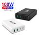 VINA 4 Ports 100W Total Power QC3.0 PD Smart Fast Charger Multi Charger Station For iPhone for iPad for MacBook