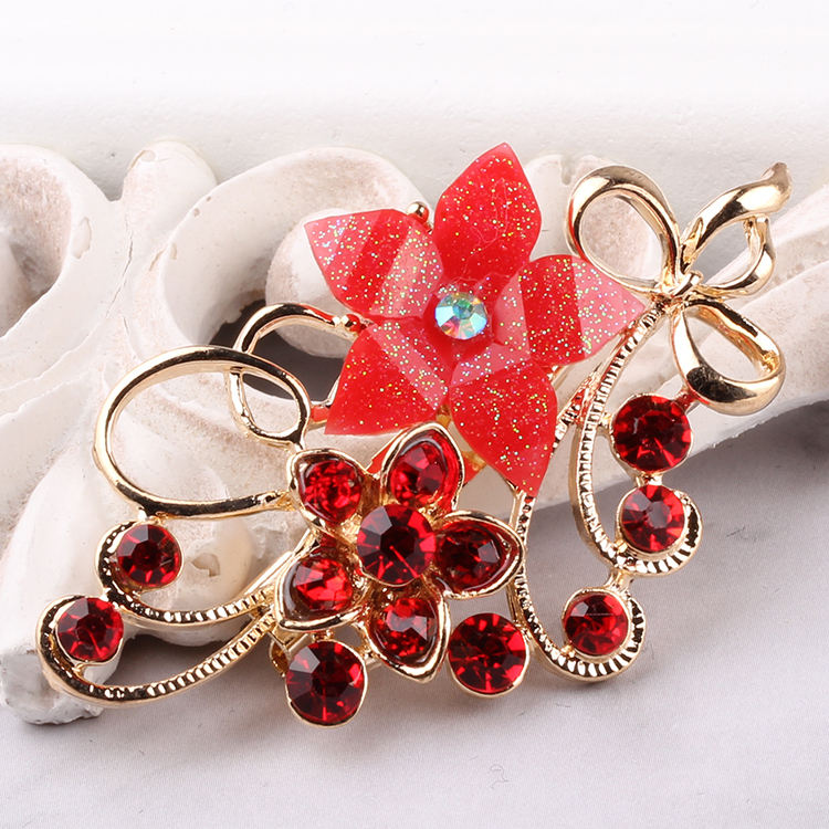 Popular Red Resin Flower Hijab Broches Pin Wholesale Rhinestone Brooches