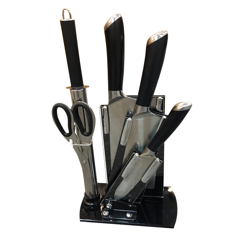 Amazon Hot Sale 5 Piece Stainless Steel Black Kitchen Knives Set For Home Restaurant