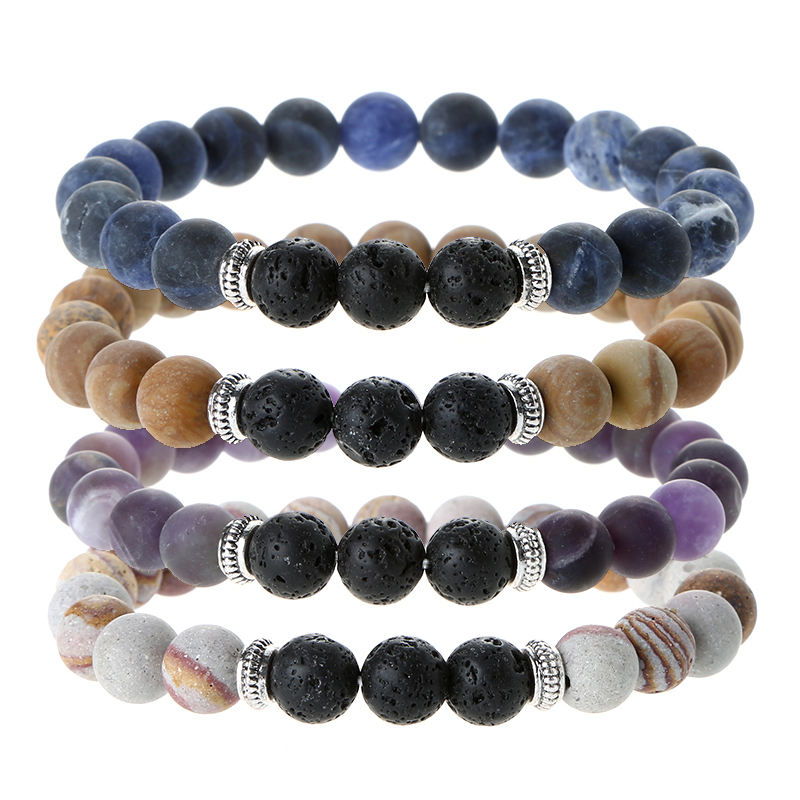 Natural Matte Stone Bracelet, Frosted Sodalite Serpeggiante Amethyst Red Zebra With Lava Rock Aromatherapy Diffuser Bracelet