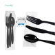 Polystyrene black PS cutlery kits salt and pepper ,individually wrapped PS cutlery kits,black utensils with napkin