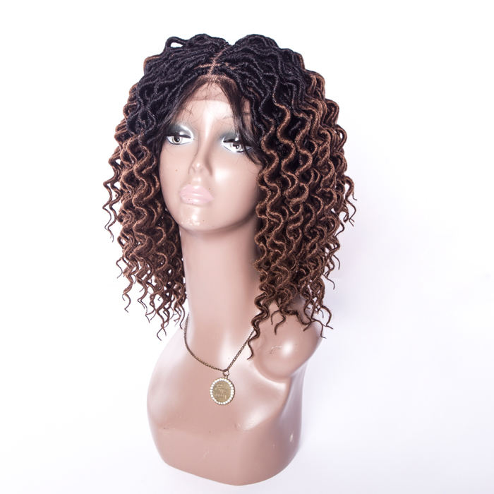16inch faux loc ombre brown braiding synthetic hair lace front wig for black women American fashion miraculous ladybug