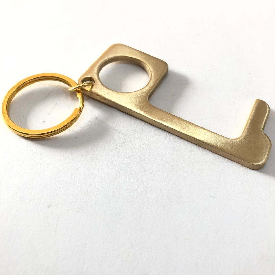Metal No-touch Hygiene Hand Brass Keychain Door Opener Tool