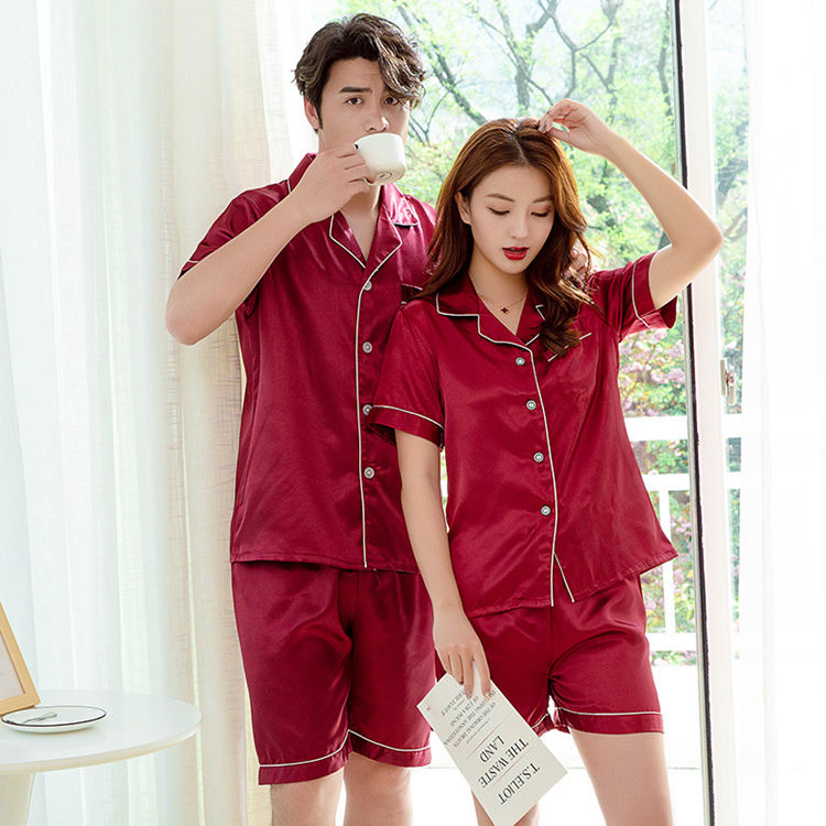LIFE Pure Color Satin Suit Plain Women And Man Couple Shorts Sleeve Silk Pajamas Sets
