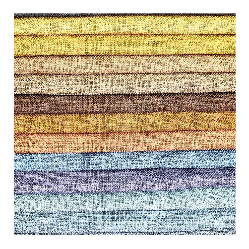 Linen Rayon Plain Dyed Woven Upholstery Curtain and Sofa Fabrics Free Sample