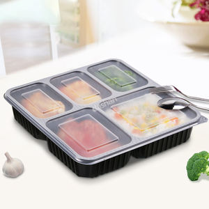 Leak proof 5 compartment disposable takeaway food lunch box plastic hinged food containers for microwave oven