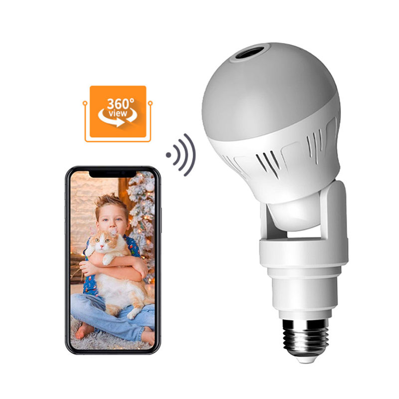 Light Bulb Camera Wireless 360 Degree Panoramic 2MP LED Light IP Cam Lamp Remote Floodlight for Baby/Elder/Pet/Nanny Monitor