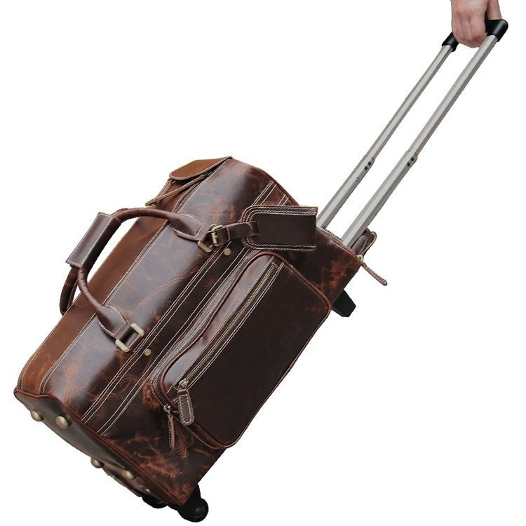 Travel Bags Luggage Customized Genuine Leather Trolley Duffel Bag Men Leatherバッグ