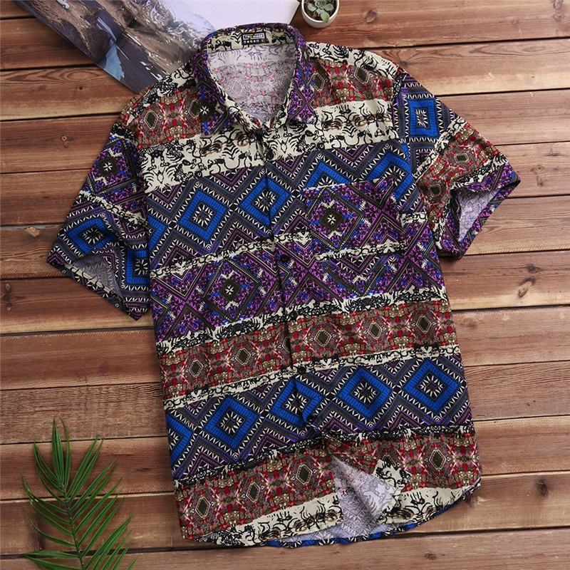 Free Shipping Short Sleeve Loose Casual Beach Hawaiian Men's Shirts