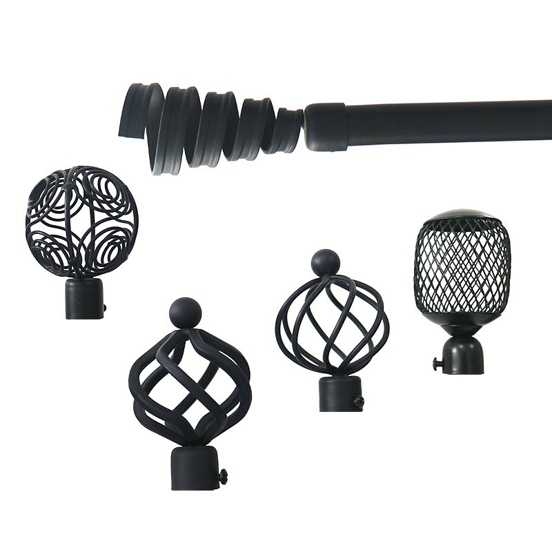 Customized iron drapery curtain pole hardware brass finials black gold custom twisted wrought iron curtain rod pole
