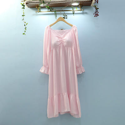 Good design an exquisite women cotton long sleeve nightgown maxi length nightdress plain white vintage bridal sleepwear