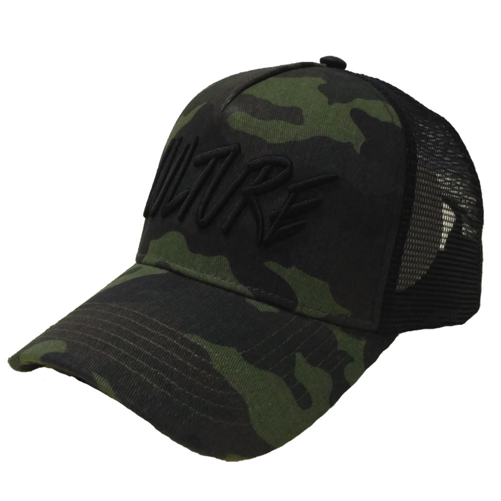 Cotton Twill Camo Pattern Trucker Hat Sublimation Printed Mesh Summer Cap 3D embroidery camo cap