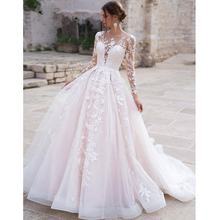 Scoop A Line Elegant Lace Bride Pink Long Sleeve Bridal Gowns Wedding Dress from China