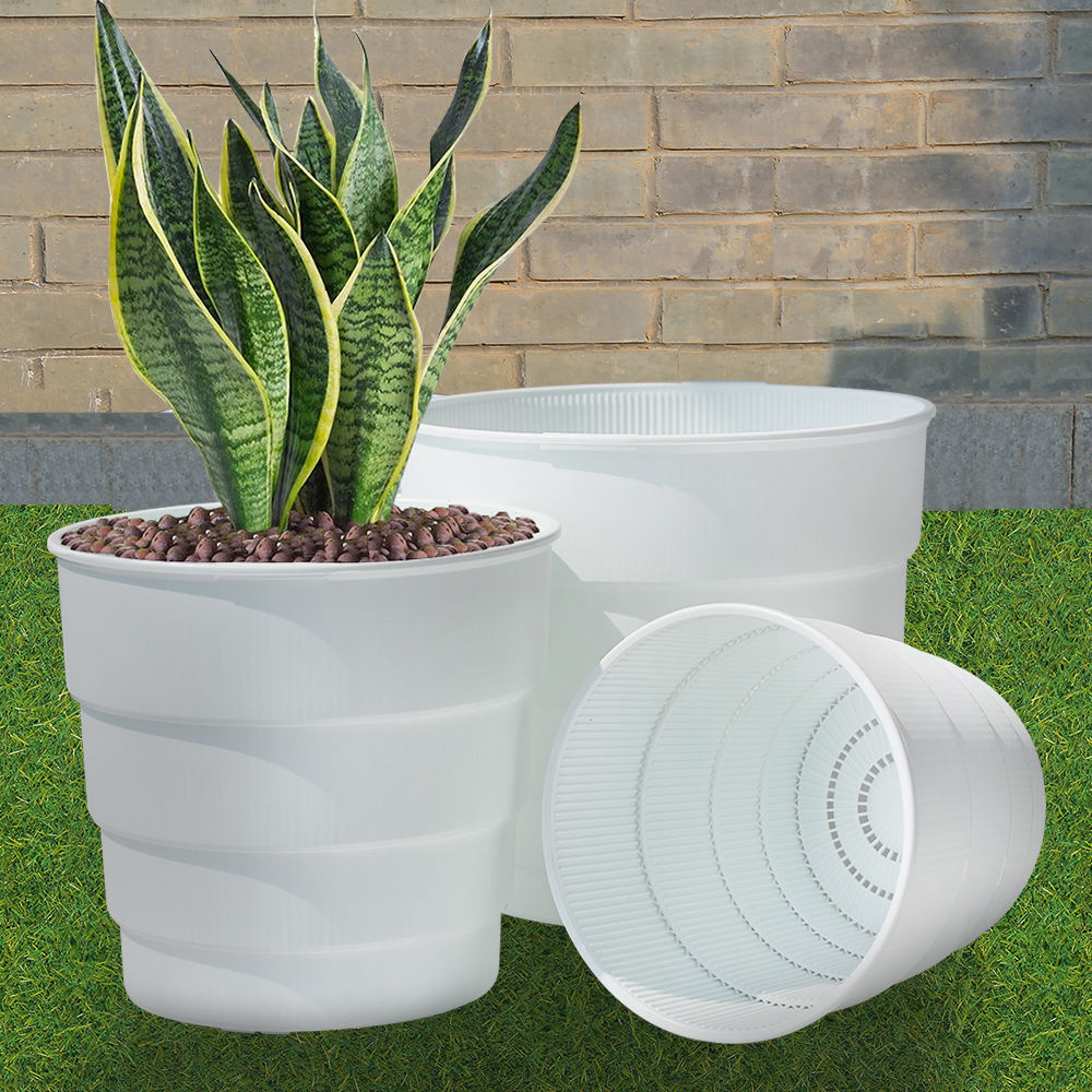 garden planter plastic flower pot with air pruning function black/ white plastic pot