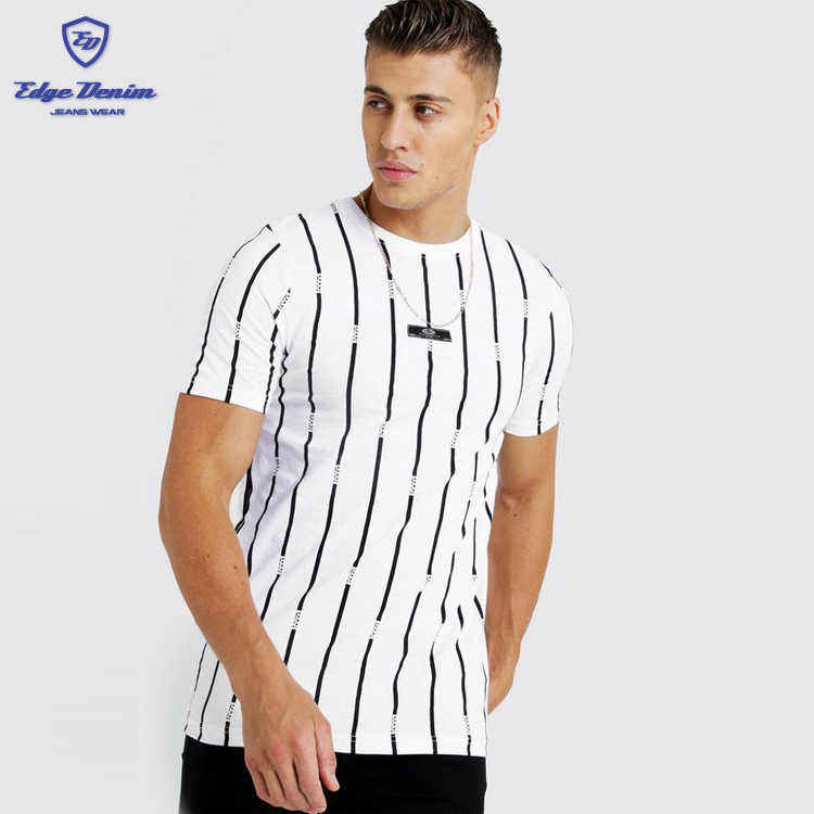 Fashion 100% cotton cheap men's custom printed round neck men stripe printed T-Shirt with woven Tab