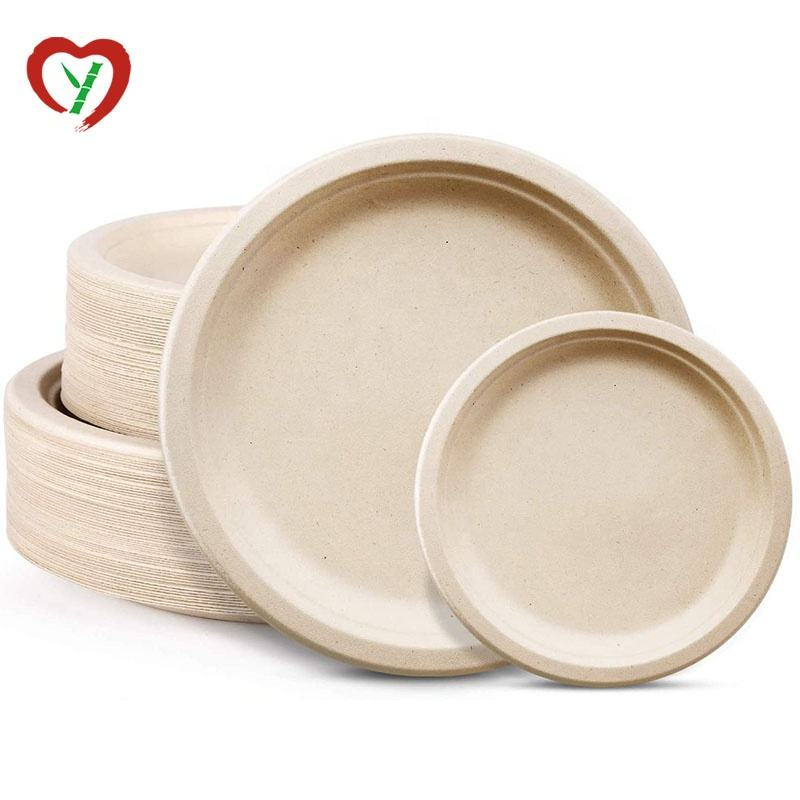 Biodegradable Disposable Bamboo Fiber Sugarcane Bagasse Plate