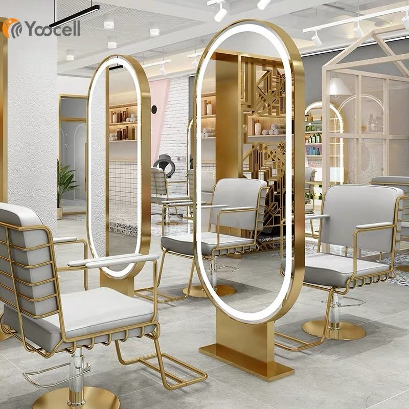 Yoocell hot selling newest gold stainless steel mirror styling station with LED light salon styling chair