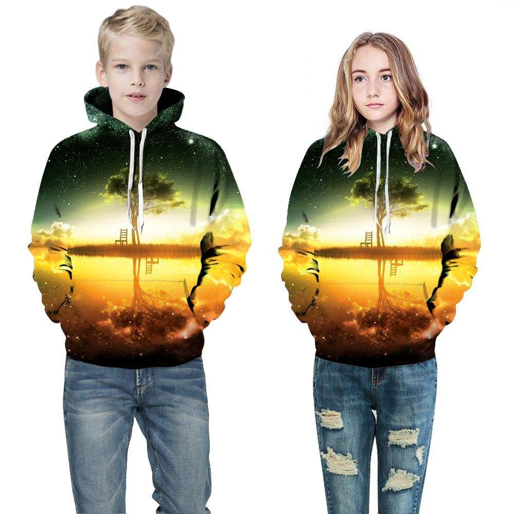 50 Designs 3d printed Kids hooded sweatshirts boys long sleeve hooded pullover with down children coat