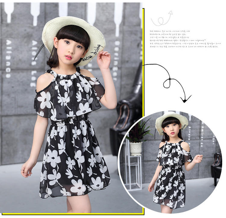 2019 hot sale new design cheap Chiffon black floral kids white flower party wear dresses for fat girls