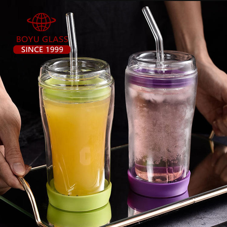 Custom glass cup with lid and Straw 300ml 400ml double wall glass cup