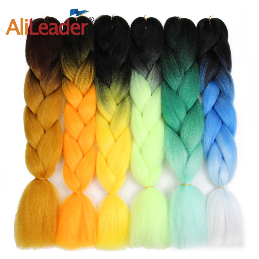 AliLeader Synthetic Hair Bulk Ombre Jumbo Braid Hair Coloured Braiding Hair