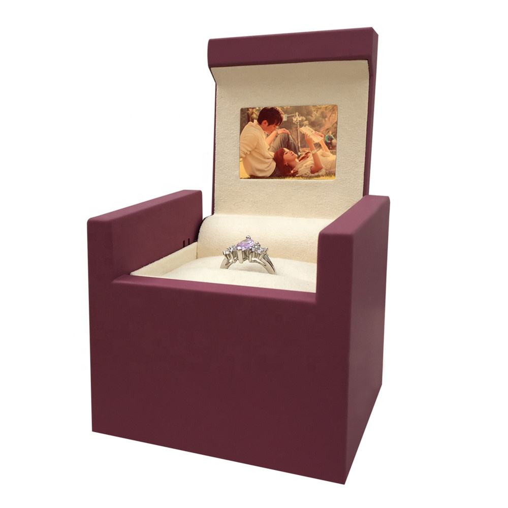 Unique Ring Box Customize Creative Hotsale New Design Unique Proposal Diamond Lcd Display Screen Video Jewelry Ring Box