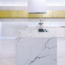 Customized size artificial quartz stone arctic white countertops square 2cm kitchen dining table top