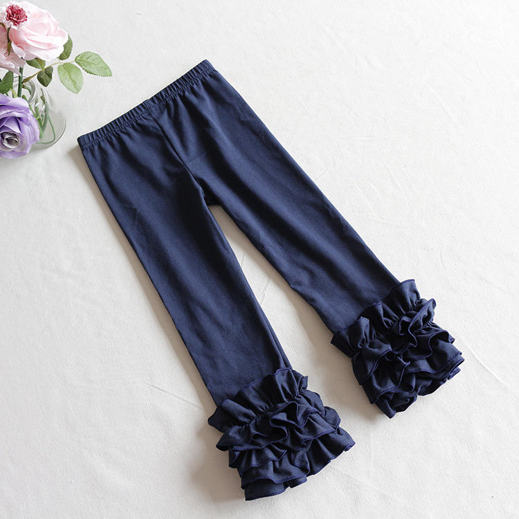 Free Shipping Boutique Children Jeans Pants For Girl 2019 Baby Clothes Legging Cute Trousers Warm Baby Ruffle Pants With Stock