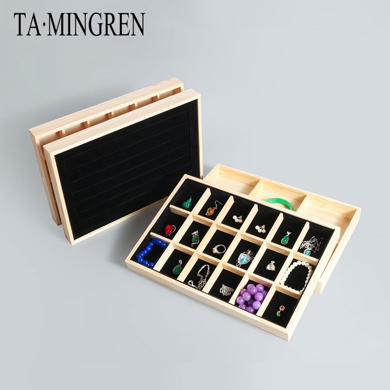 Wooden Jewelry Storage Tray Box with 18 20 6 Compartments