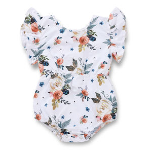 Toddlers summer flower print sleeveless onesie infant ruffle flutter clothing newborn girls floral fly sleeve rompers baby