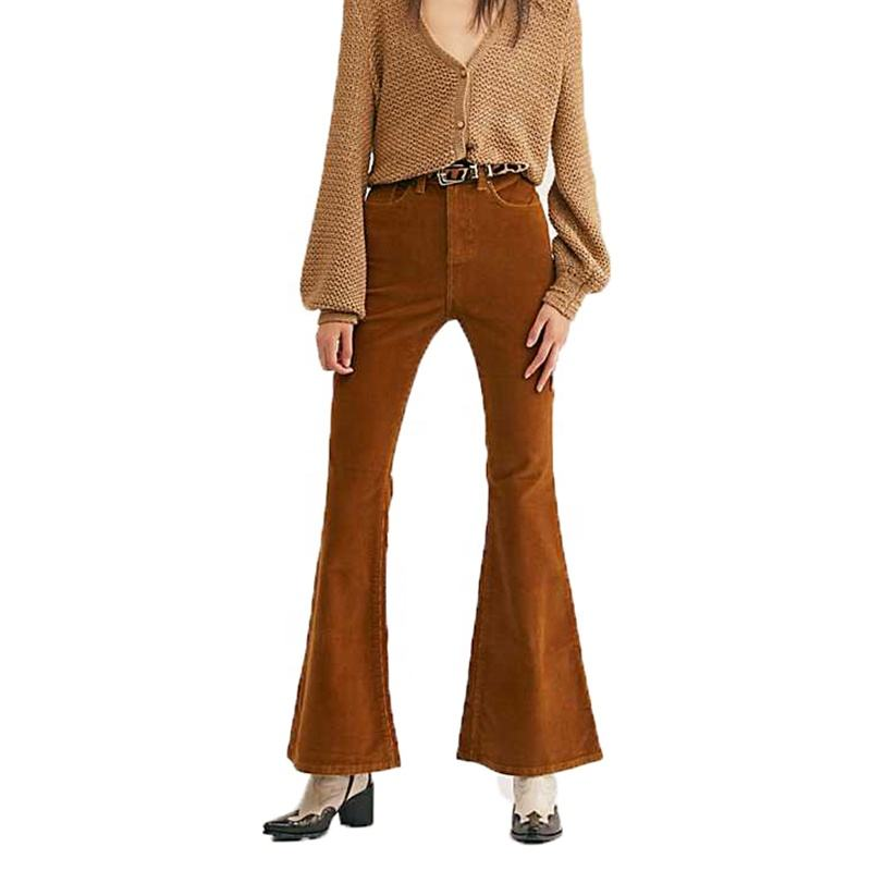 2019 tailor-made fashion tan vintage hohe taille cord flares für frauen