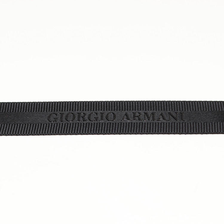 Black color hot sale wholesale emboss grosgrain edge satin ribbon with high rise printing