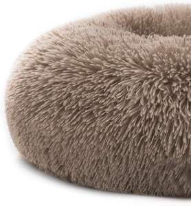 Self Warming Indoor Donut Cat Bed Faux Fur Dog Beds for Medium Small Dogs Round Pillow Cuddler