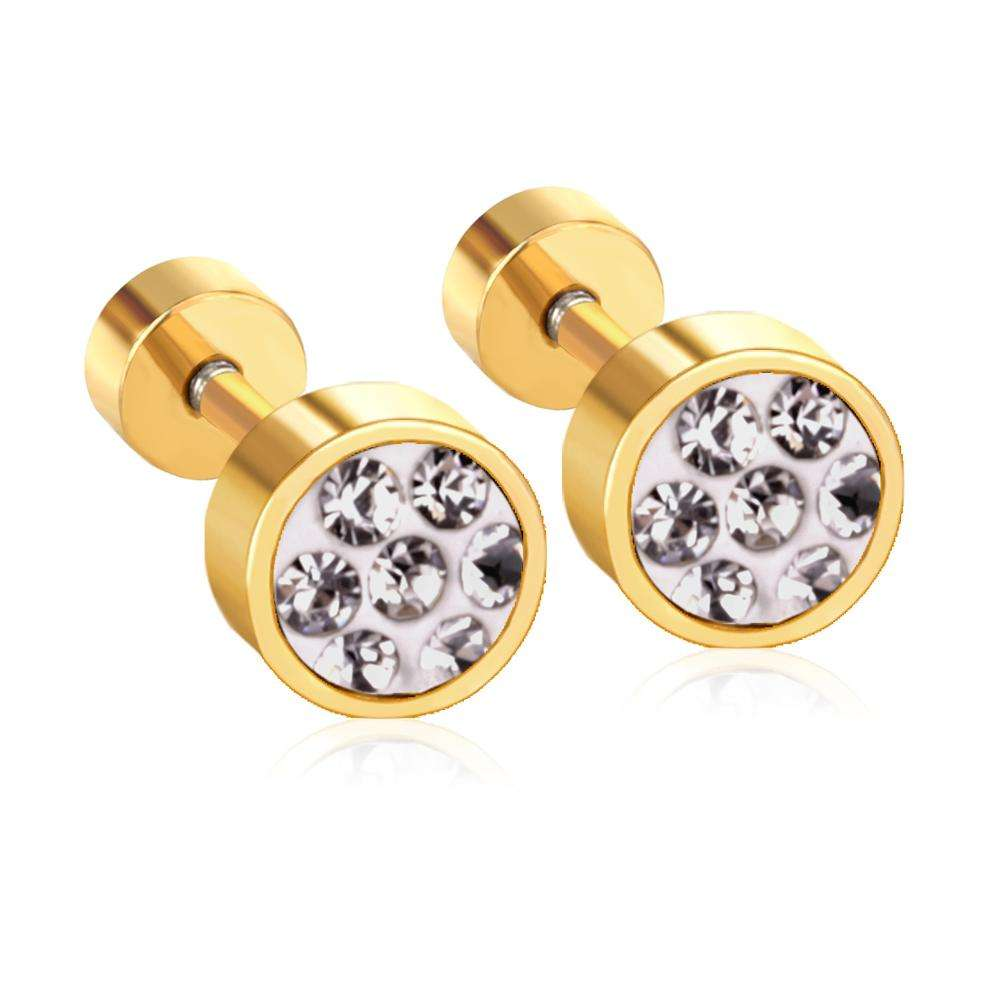 Stainless Steel diamond gold earring Jewelry Earrings Women Stud Bridal Earrings Cock Jewelry Set Wholesale