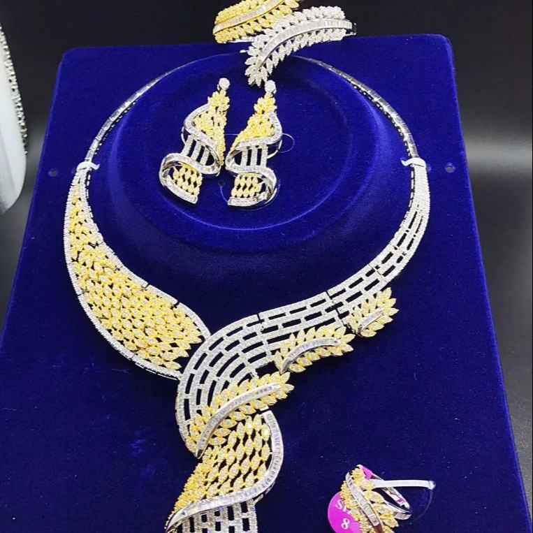 Xuping jewellery set, luxury heavy fashion jewellery, kundan african dubai bisuteri gold plated jewelry sets