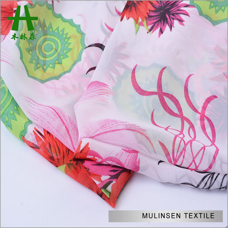 Hoa hồng Mulinsen dệt in <span class=keywords><strong>vải</strong></span> Polyester xoắn Chiffon nữ <span class=keywords><strong>Kaftan</strong></span>