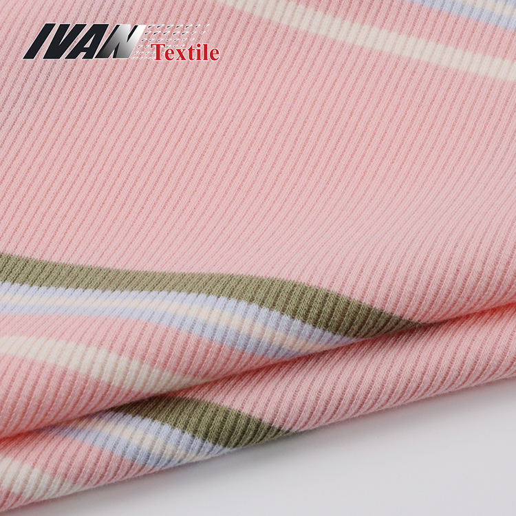 Hot selling wholesale 40S CVC 2x2 yarn dyed knit rib polyester cotton spandex fabric custom