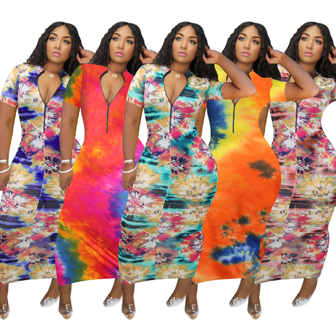 LDDRESS hot style colorful aperture printed sexy dress zips open and closes plus size summer dresses women clothing
