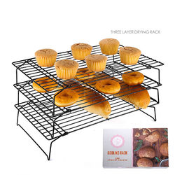 3 Tier Nonstick Carbon Steel bakery Cooling Rack folding cake bread cooling rack