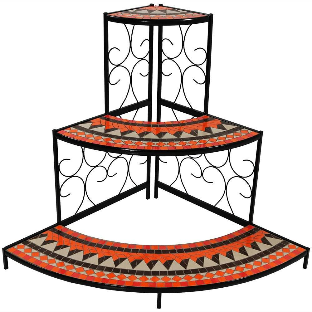 Sunshine Large Three-Layer Stepped Mosaic Plant Stand Metal Corner Display Stand
